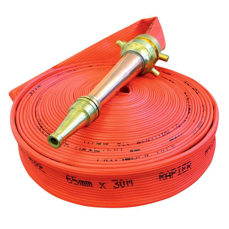 Rapier Fire Hose - 64mm x 30m - BRASS QRT - Red