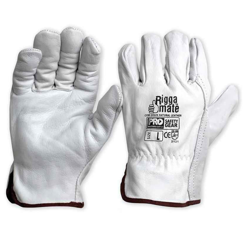 Safety Gloves - Leather, Riggers/Riggamate Cow Grain, Natural, Grey - Xlarge