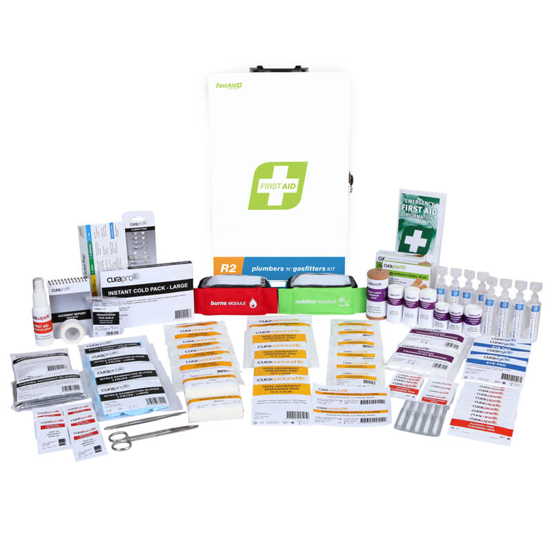 First Aid Kit-R2 - Plumbers & Gasfitters - Metal Wall Mount